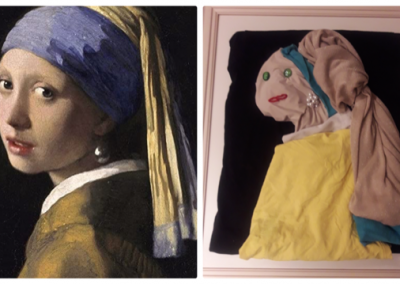 """Laundry Art Challenge- Recreation of """"Girl with a Pearl Earring"""" by Vermeer"""
