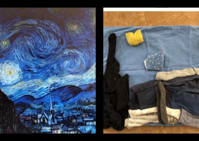 "Laundry Art Challenge- Recreation of ""Starry Night"" by Van Gogh"